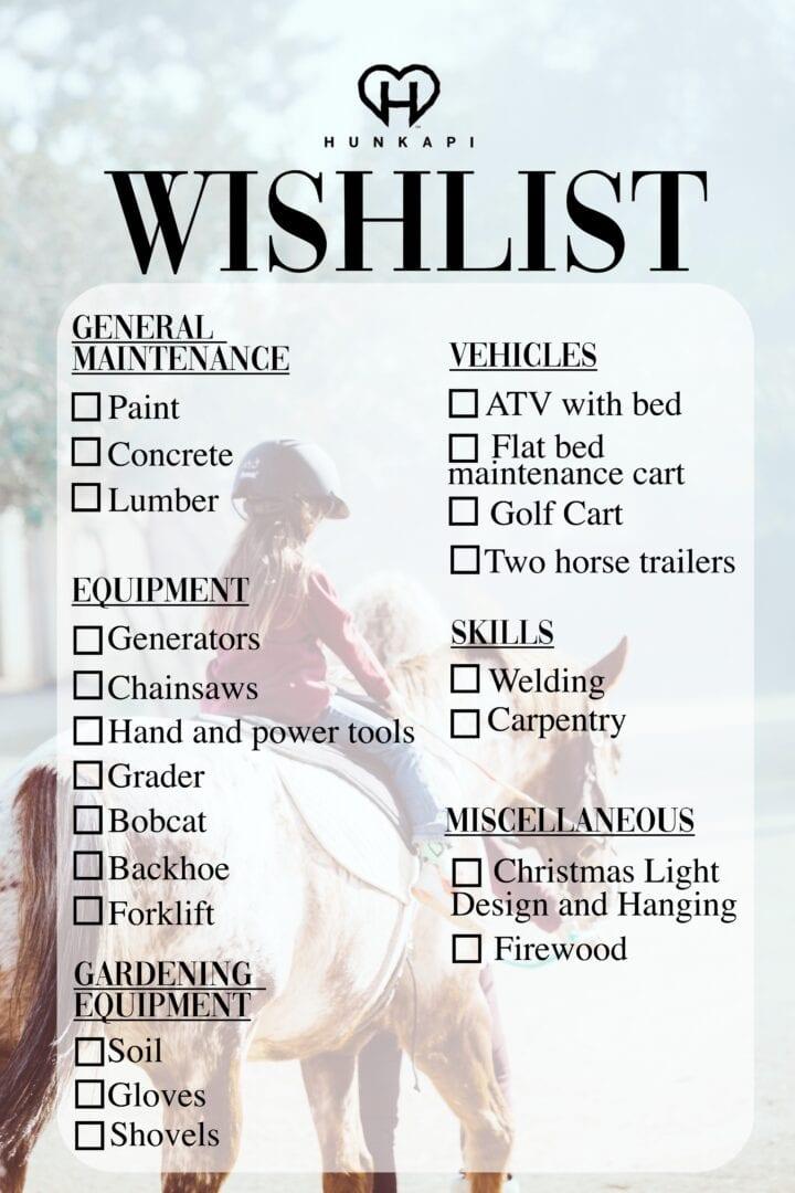 Hunkapi Wishlist
